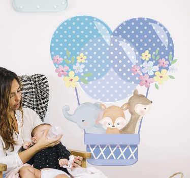 Vinilo decorativo infantil con diseño de animales en globo aerostático en azul acuarela con flores. Fácil de aplicar sobre superficies planas.