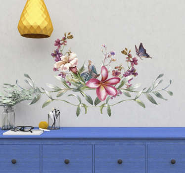 Elegante autocolante decorativo floral de um jardim em estilo aquarela que ficará muito bonito na decoração da sua sala de estar ou quarto.