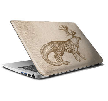 Easy to apply laptop sticker designed with a fierce weird animal to cover the whole surface of a laptop. Best vinyl adhesive product.