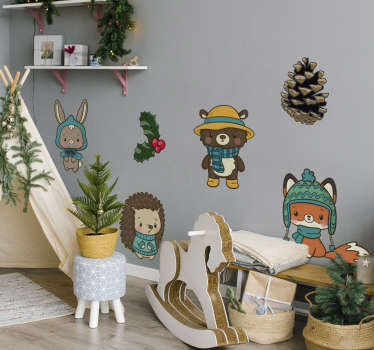 Winter flower and animal wall sticker for children that has cartoon animals on winter clothes. An adorable design for the space of kids and infants.