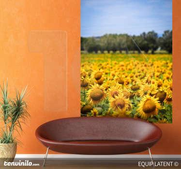 Sticker foto landschap zonnebloemen