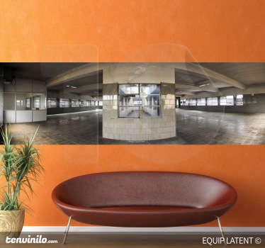 Photo Murals - 	Image of an empty production hall with large windows. Latent Estudi Photography for your home or business.