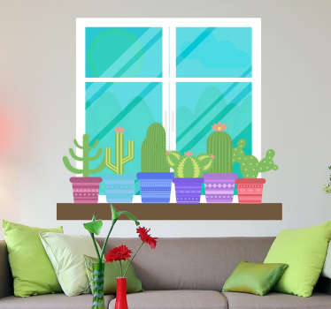 Koristeellinen ikkuna puutarhan luonto seinätarra