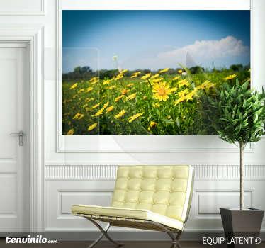 Vinilo decorativo prado flores amarillas