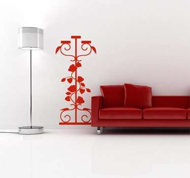 Floral Design Candlestick Wall Sticker