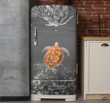 Buy our decorative vinyl fridge wrap sticker with the design of black and white turtle swimming. Buy it in the size that matches the surface you want.