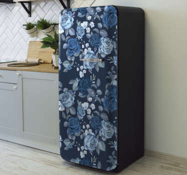 Decorative vinyl fridge wrap sticker with the design of blue roses. Buy it in any size that matches the size of your fridge surface.
