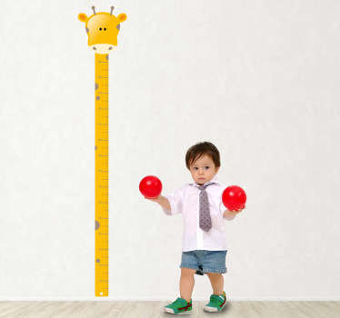 Giraffe height chart kids sticker