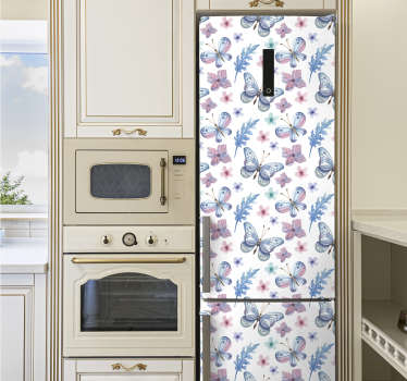 Decorative fridge vinyl sticker with the design of butterflies on purple flowers. Buy it in any size that fits the surface of a fridge surface.