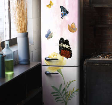 Decorative vinyl fridge wrap sticker with the design of butterflies and petals in an amazing colour background. It is customisable to fit any size.