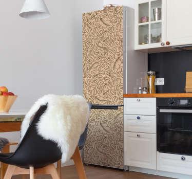 Sticker frigo de haute qualité avec un motif de grains et feuilles de café. Conçu pour envelopper toute la surface du réfrigérateur dans n'importe quelle taille.