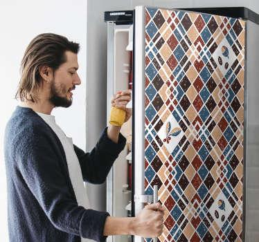 易于应用带有咖啡色图案条纹设计的装饰性冰箱包装贴纸。它具有可自定义的大小以适合任何空间。