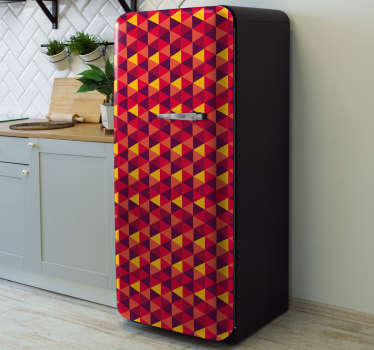 Decorative fridge vinyl sticker with the design of triangular colorful geometries. It is customisable to fit any size of a fridge surface.