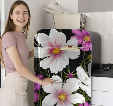 Decorative colorful daisy flowers fridge sticker designed with the best quality vinyl . Buy it in the customized size for a desired surface.