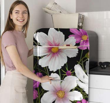 Vinilo decorativo para refrigerador con flores de margaritas de colores decoradas. Cómprelo en el tamaño personalizado para una superficie deseada