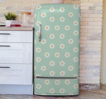 Decorative daisies flower fridge wrap sticker to beautify the fridge surface and transform the kitchen space. Buy it in the best size that fits.