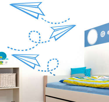 A creative sticker of flying paper planes! Perfect decal to decorate your child´s room.