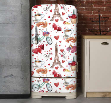 Buy our decorative fridge door wrap decal design of love Paris that has an amazing appearance of the city and food. Easy to apply.