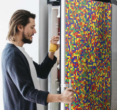 Decorative vinyl fridge door wrap sticker with the design of colorful mosaic pattern. Buy it in the size that matches any fridge surface.