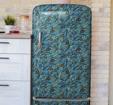 Decorative fridge sticker design of a paisley flower pattern to wrap the whole surface.Chose it in the size that best fit your fridge.
