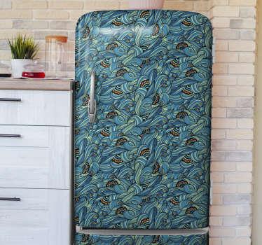 佩斯利花朵图案的装饰冰箱贴纸设计可包裹整个表面,并选择最适合冰箱的尺寸。