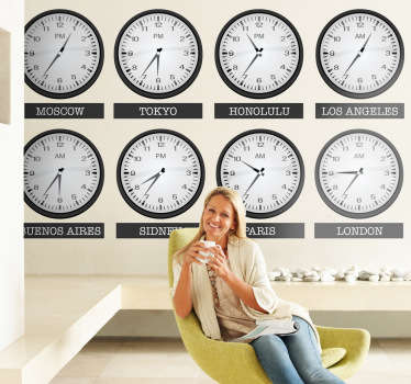 Wall Stickers - Collection of different clock times from various different cities around the world. Paris, London, New York and more.