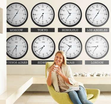 Vinilo decorativo horarios mundo