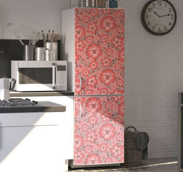 Adhesive fridge wrap sticker with the design of pink daisy flowers. Buy it in the size that fit the surface for the product.