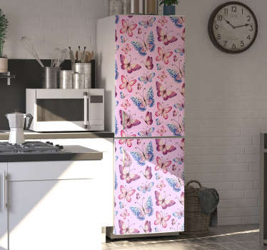 Fridge door decal with the design of colorful butterflies in rose tone background to cover the whole surface. It is customisable to fit any size.