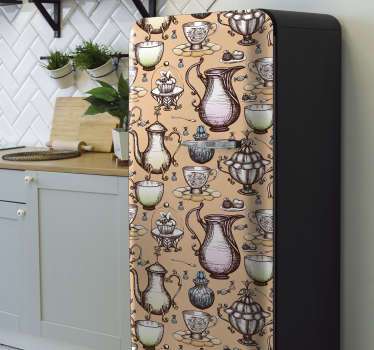 Buy our best quality vinyl fridge wrap decal with the design of tea pots collection of classical ornamental appearance. Easy to apply.