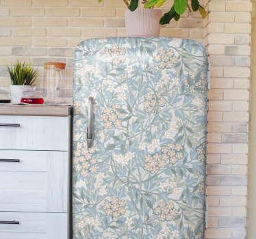 Livre a sua cozinha de um visual chato, decorando o seu frigorífico com este autocolante decorativo floral vintage para frigorífico.