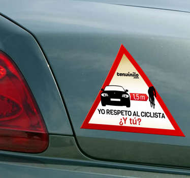 Pegatina respeto al ciclista