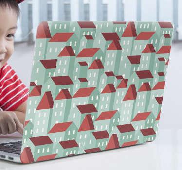 sticke rdecorativa in pelle per laptop con il design di più grattacieli assemblati della città su di essa in un aspetto sorprendente.