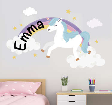 Personalizable name wall art sticker for kids with the design of a unicorn. Buy it in the name that you want on it to peronalised the room of  a kid.