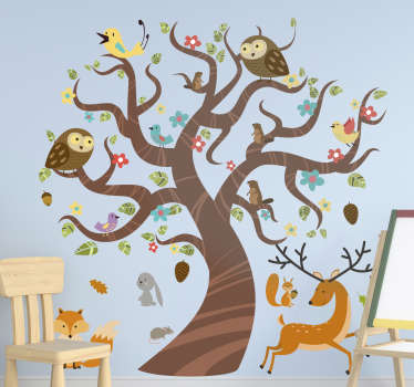 Decorative wall art sticker of jungle animals on tree for children. Decorate the children wall space in the size that best suit it.