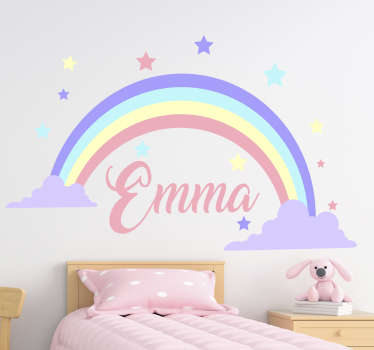 Decorative wall art sticker of a rainbow with a customizable name on it. Provide the name you want on it and will be done for you.