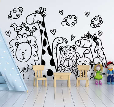 Decorative wall sticker of a drawing presentation of happy animal  on it. Create a cheerful atmosphere in a baby nursery with it.