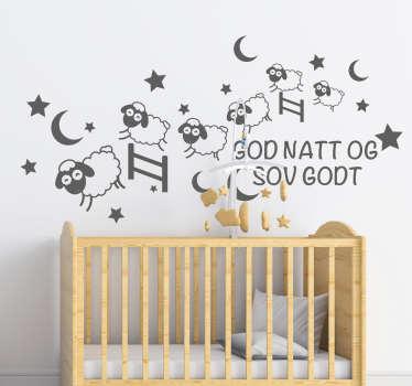 Dekorative barn veggklistremerke design av sovende sauer med '' god natt '' tekst på den. Velg den i ønsket farge og størrelse.