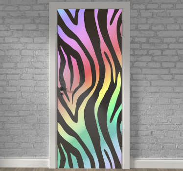 Best quality vinyl door decal with the design of the 80's zebra pattern. We customize it to suite any door surface to apply the design on.