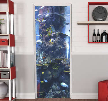 Decorative door sticker with the design of an amazing aquarium featuring the oceanic life in 3D appearance . Customizable to fit any door surface.