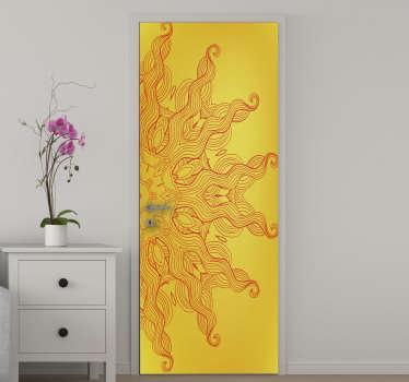 Compre nuestro vinilo para puerta con el diseño del sol arabesco en una hermosa apariencia de color excepcional. Envío a domicilio.