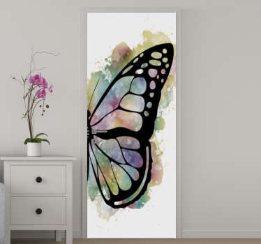 Decorative vinyl door sticker with the design of beautiful butterfly that will leave the door  surface with an amazing appearance at all time.