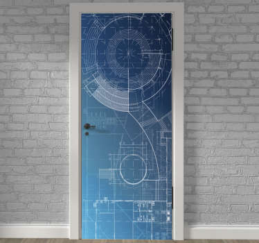 Decorative door sticker with the design of a blue print in an amazing background. Easy to apply on any flat surface and customisable.