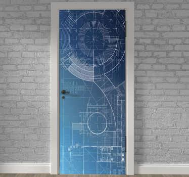 Vinilo decorativo para puerta con el diseño de un estampado azul en un fondo increíble. Fácil de aplicar. Envío a domicilio.