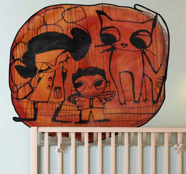 Naklejka dekoracyjna dzieci i kot