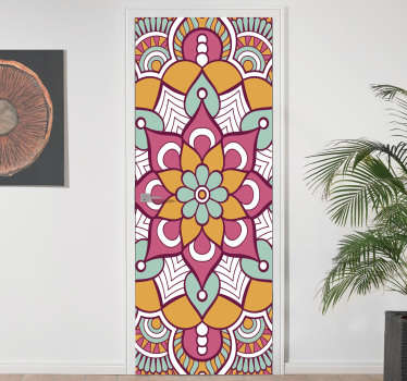 Decorative door decal with the design of a colorful mandala on it. Customizable to fit any surface of choice. Easy to apply.