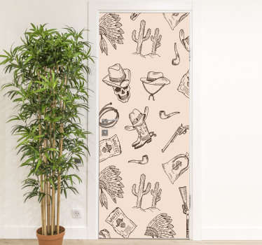 Decorative door vinyl sticker with cowboy theme features on it. Ideal for bedroom space and the size is customisable to fit any surface.