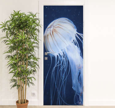 Jelly fish door sticker to beautify the door surface in the home. An ideal design for the kitchen space. Customisable to fit any door surface.