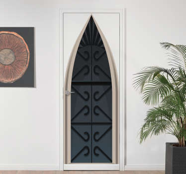 Decorative door sticker vinyl with the design of a medieval castle. It is customisable to size any space to apply the design.