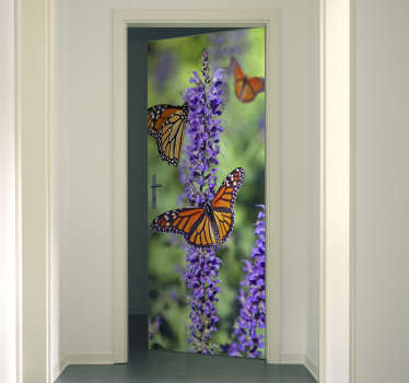 Decorative door sticker with the design of monarch butterflies in very fascinating appearance. It is customisable to adapt to any desired space .